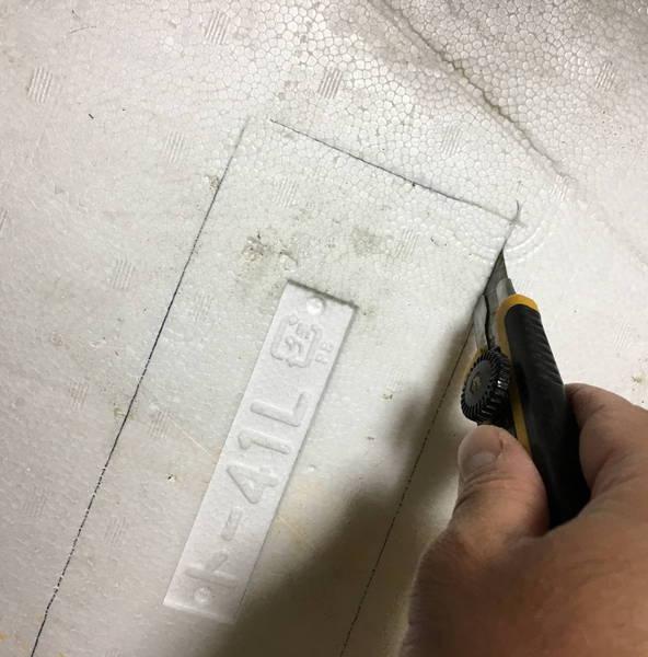 防寒対策の簡易温室 カッターで切る